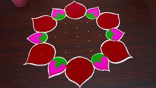 Beautiful Lotus rangoli design for thaipusam 2019 - Simple kolam with 7x4 dots - muggulu designs