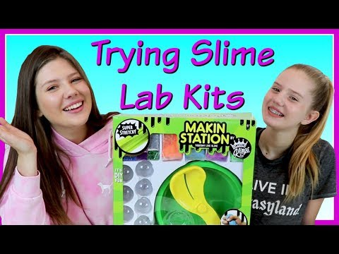 TRYING SLIME LAB KITS || MAKIN STATION || Taylor and Vanessa