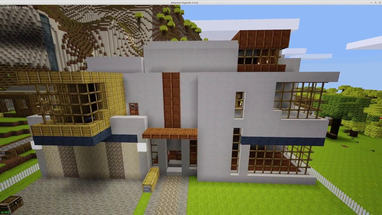 Minetest inematic - Modern House with utomatic Garage Door - Youube - ^