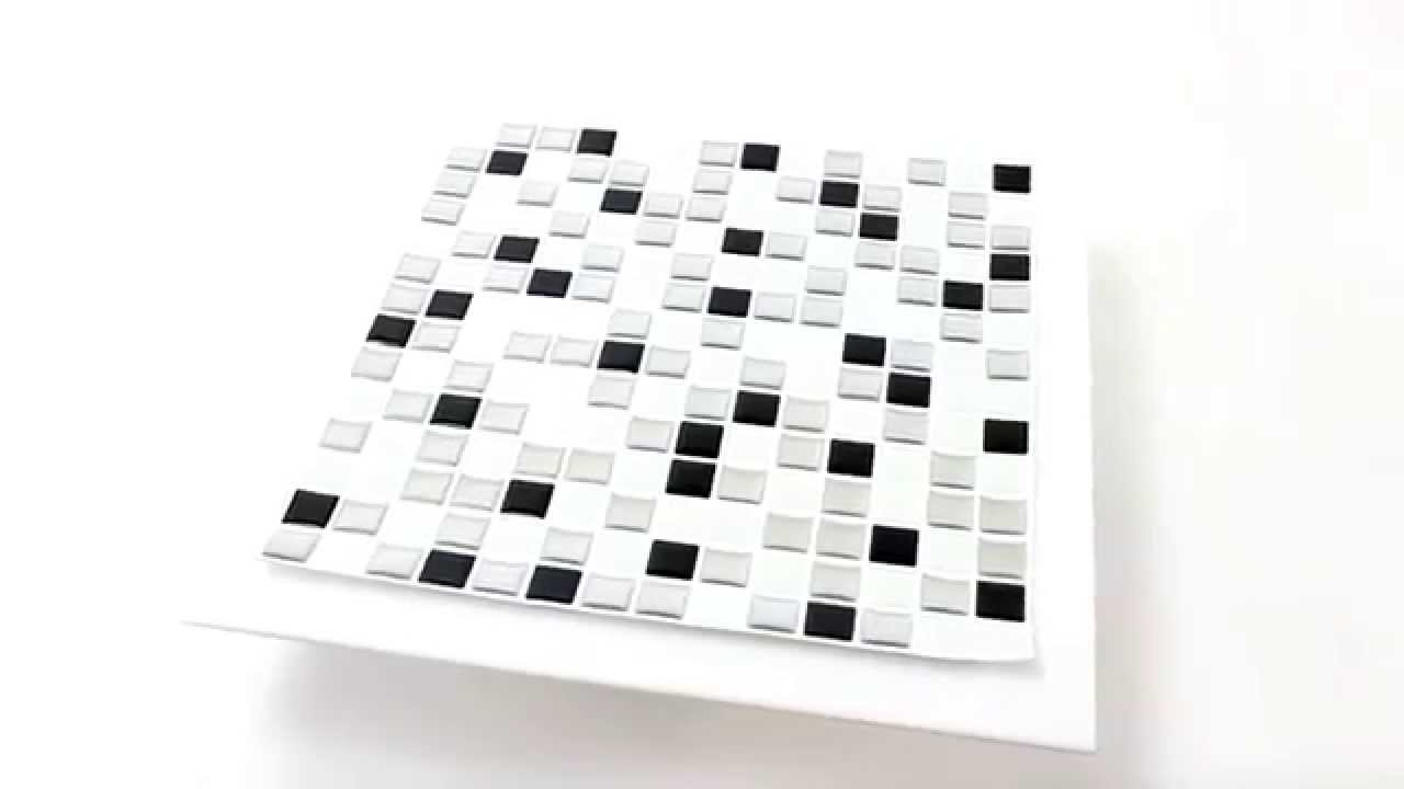 vinyl mosaik schwarz weiss mix selbstklebend youtube. Black Bedroom Furniture Sets. Home Design Ideas