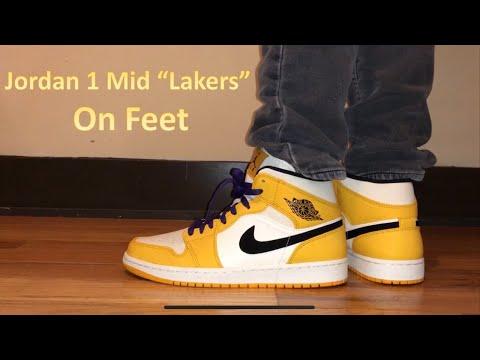 Air Jordan 1 Mid SE Lakers On Feet