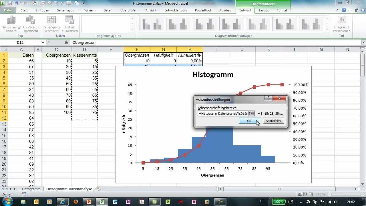 Excel - Histogramm über Datenanalyse erzeugen - YouTube