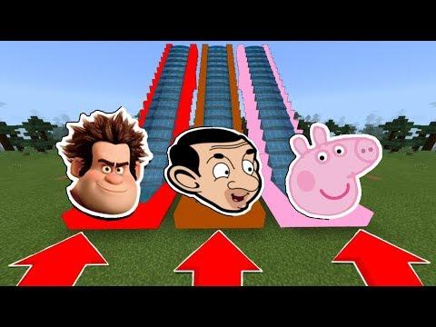 NE CHOISISSEZ PAS LE MAUVAIS TOBOGGAN MINECRAFT !! Mr Bean, Les Mondes de Ralph, Peppa Pig | troll