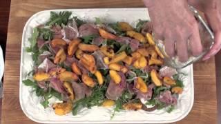 Grilled Peach, Prosciutto & Crostini Salad