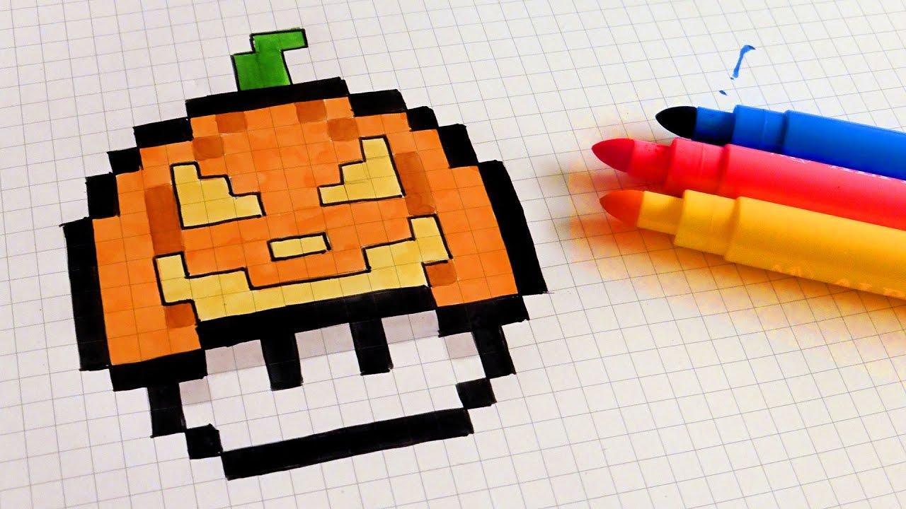 Halloween Pixel Art How To Draw Pumpkinhead Mushroom Pixelart