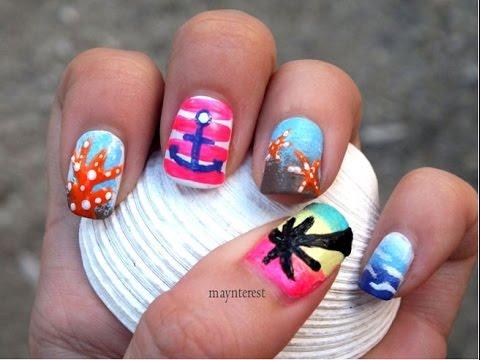 5 diseÑos de uÑas marinas  summer sea nail art  youtube
