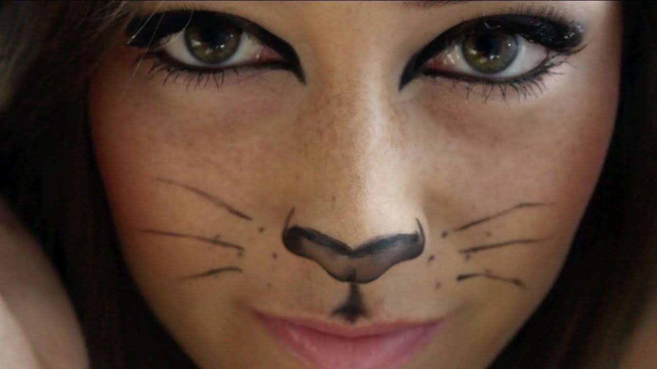 kitty cat halloween makeup tutorial! - youtube