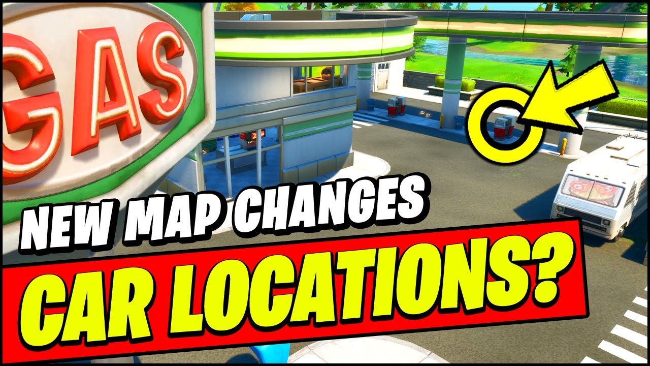 New Fortnite Cars Update Map Changes New Gas Stations Cars Locations Youtube