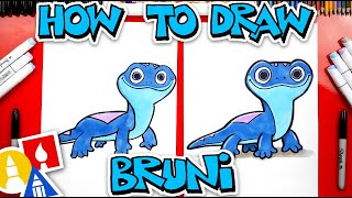 How To Draw Bruni The Salamander Fire Spirit From Frozen 2
