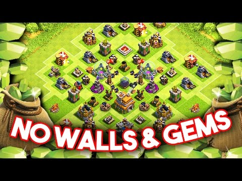 Clash of Clans - GEMMING TH7 NO WALLS  - 1 WEEK SHIELD AND BOOST??