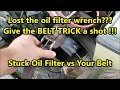 "Pants Belt = Oil Filter Wrench: Old Mechanic Trick - The ""Belt Wrench"""