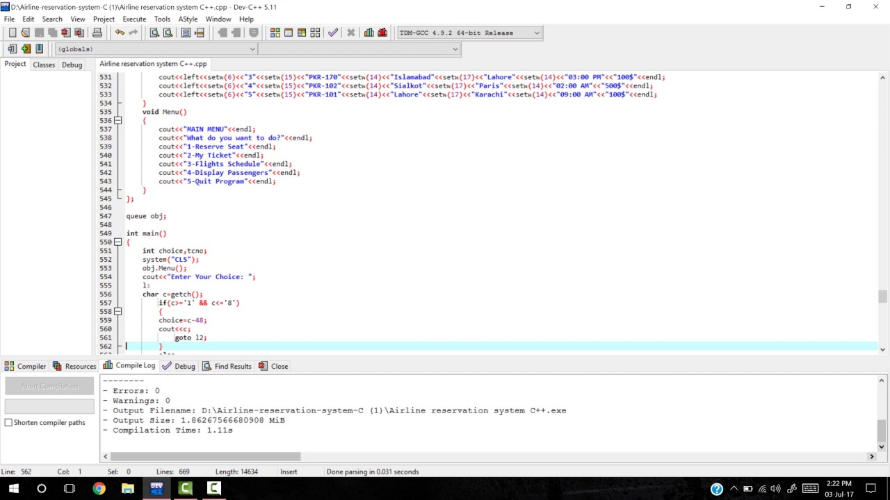 Airline Reservation System Project in C++