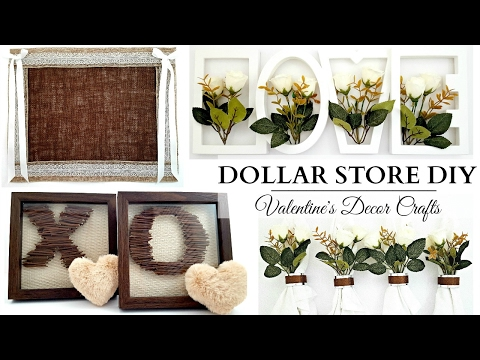 Dollar Store DIY's ~ NEUTRAL Valentine's Day Crafts ~ Cute Wall Art & Table Decor!