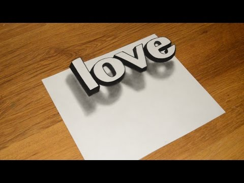 Simple 3D Graffiti how to draw the illusion of LOVE
