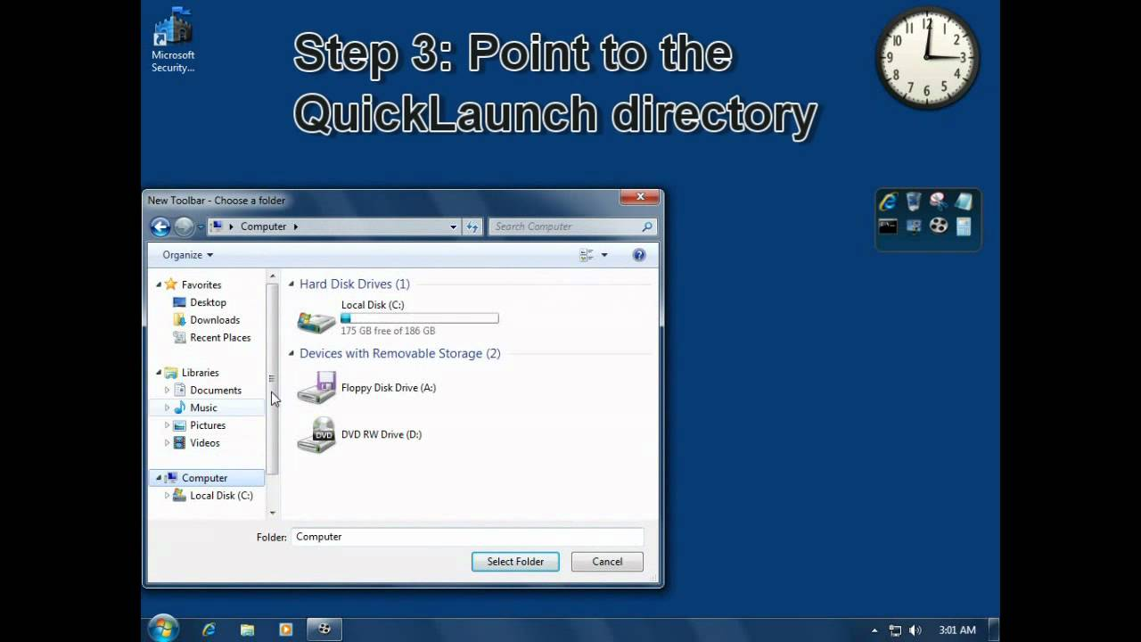 Tech Support Adding Quick Launch Toolbar Back To Windows 7