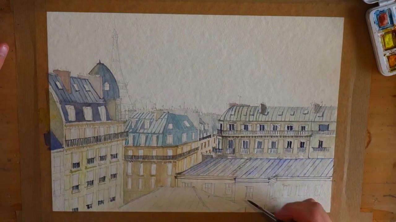 Atelier Chalverat Time Lapse Toits De Paris Aquarelle Youtube