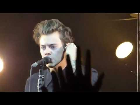 Harry Styles thanking fans, kissing a fan on cheek, blowing kisses and more.