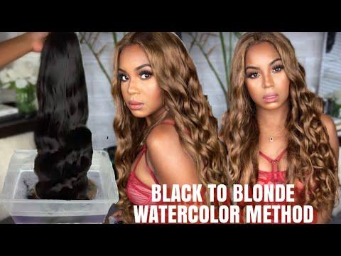 WIG BLEACH BATH?! SUPER EASY BLACK TO CARAMEL ASH BLONDE | WINE N WIGS WEDNESDAY | ALWAYSAMEERA