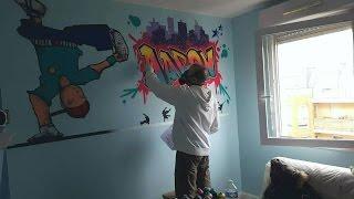 Déco graffiti chambre d'Aaron en timelapse par UR-78 artiste graffiti