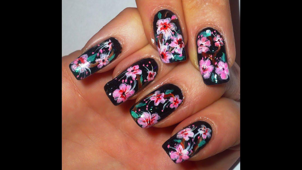 Japanese Cherry Blossom Nail Art Design - YouTube