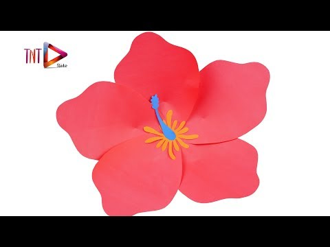 How To Make Hibiscus Paper Flower Easy | DIY Paper Giant Flower Backdrop Tutorial