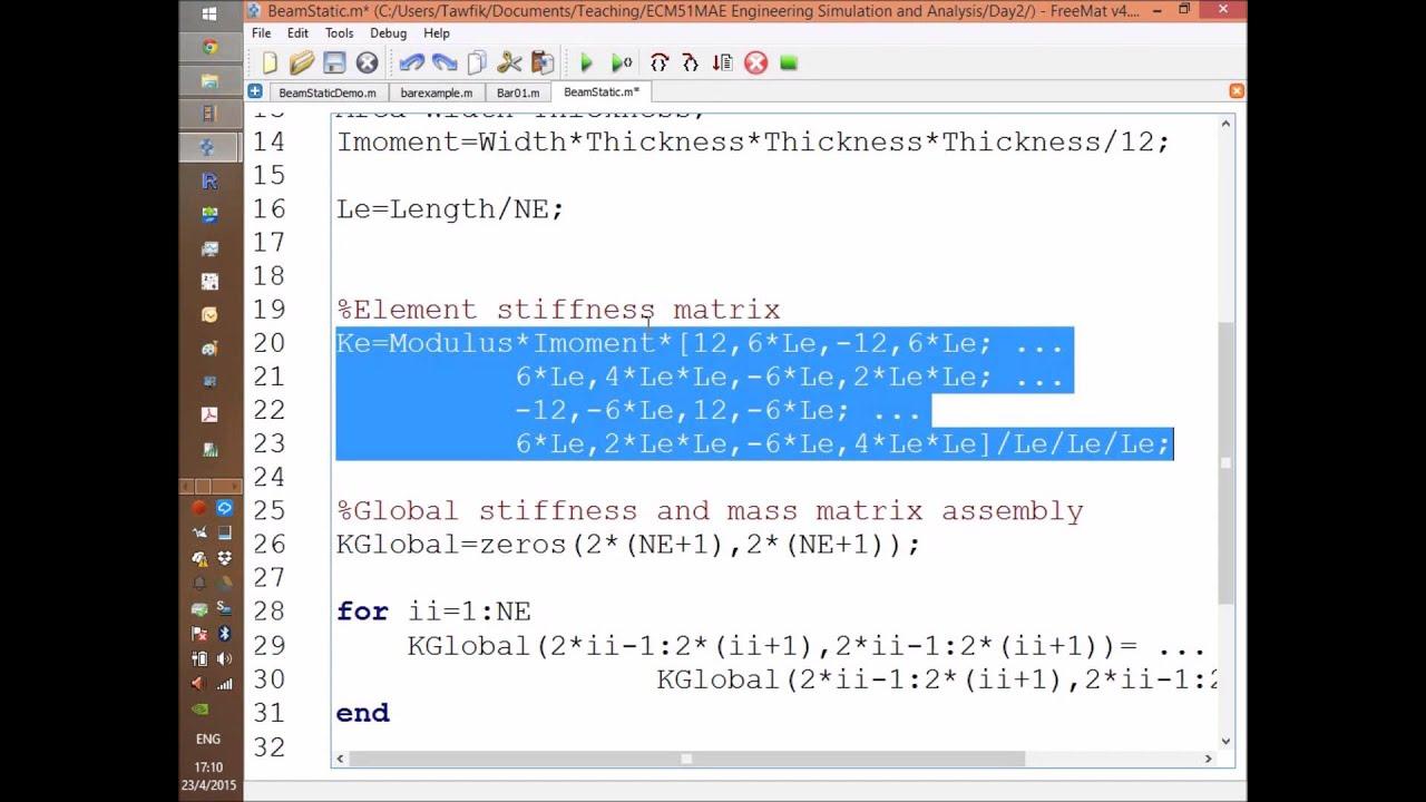 FEM: Beam FreeMat (Matlab) Code