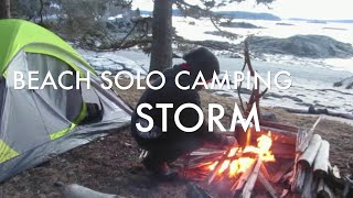 Solo Camping On Tнe Beach Overnight In A Huge Storm