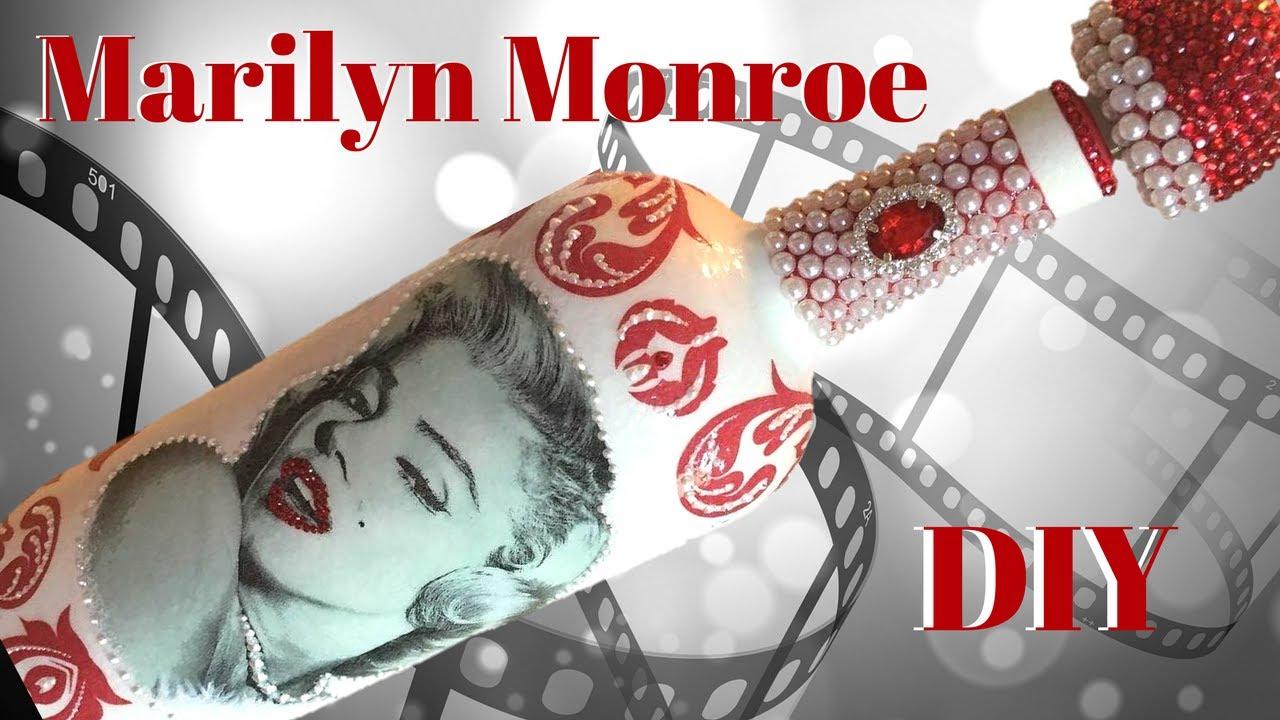 Marilyn Monroe Decoupage Wine Bottle DIY - YouTube