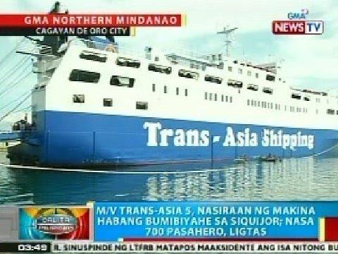 BP: M/V Trans-Asia 5, nasiraan ng makina habang bumibyahe sa Siquijor