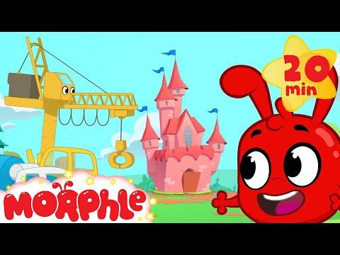 Morphle builds a Castle - Kids Construction Vehicles  (Living Bulldozer, Crane)