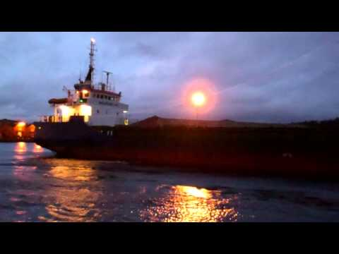 Cargo Ship Sea Ruby Docking Harbour Perth River Tay Perthshire Scotland