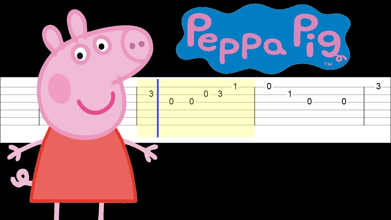 Peppa Pig Theme Easy Guitar Tabs Tutorial Youtube