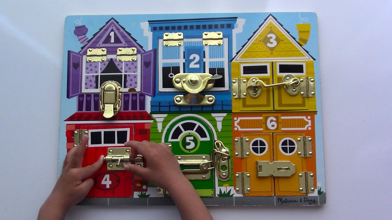 Melissa And Doug Wooden Latches Barn Board Farm Chunky Puzzle Fire Truck Puzzle Learn Your Colors