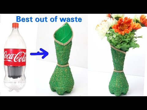 Flower Vase Out of Waste Plastic Bottle| How to make flower vase from waste plastic bottle |#reuse