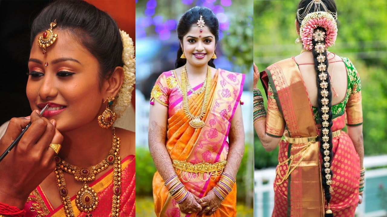 traditional south indian bridal makeup & hairstyle   step by step makeup  and hairstyle tutorial