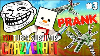 PRANKING BAKI UNINTENTIONALLY w/ BAKI xD - Minecraft: Youtuber Survivor! #3 (Crazy Craft 3.0 SMP)