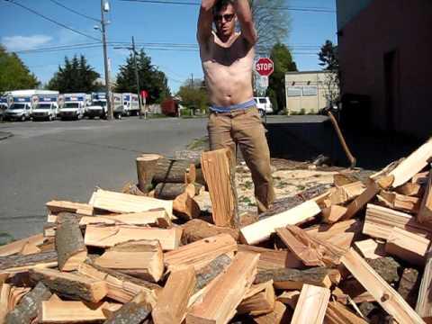 Freestyle Wood Splitting - Axe Flipping