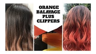 Orange Balayage plus nape shave.