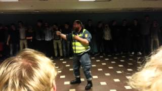 Security breaks up party at Chalmers University.