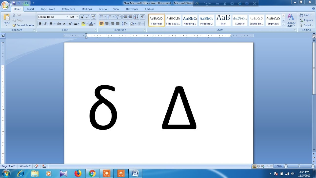 How to type delta symbol in word - YouTube