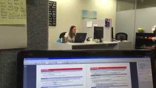 Crazy woman gets angry and destroys office
