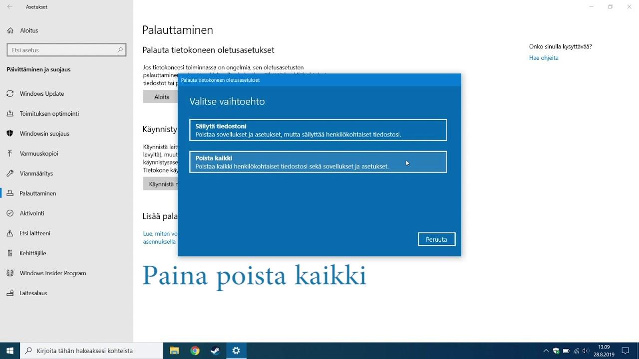 Windows Tehdasasetusten Palautus