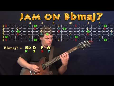 Guitar Jam Lesson - Bb Major - Bbmaj7 - Bb D F A  - JAMTRACK - M.M.=60