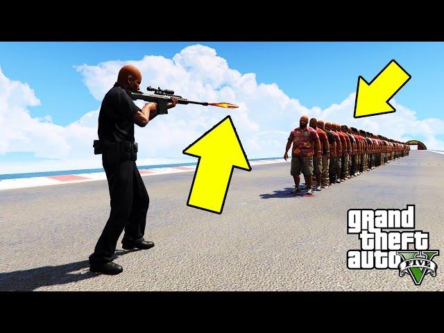 لن تتخيل ماذا فعل سلاح السنايبر في قراند 5 بمئة شخص   GTA V Sniper vs 100 People