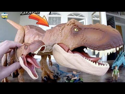 Tyrannosaurus Rex GIGANTESCO Jurassic World com Brinquedos Hot Wheels