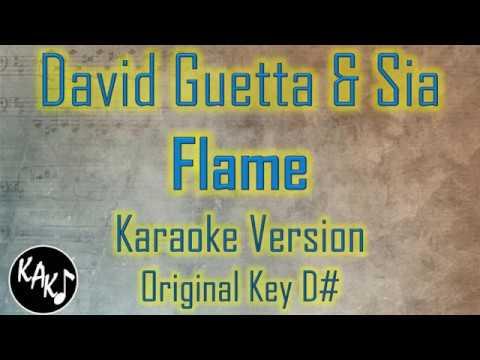 David Guetta & Sia - Flames Karaoke Full Tracks Lyrics Cover Instrumental Original Key D#