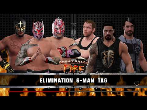WWE 2K17 Sin Cara,Mysterio,Kalisto VS Reigns,Ambrose,Rollins Requested 6-Man Elimination Tag Match