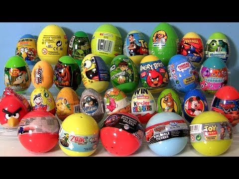 30 Surprise Eggs! Ben 10 Kinder Surprise, Playmobil, Zelda Pixar Cars Thomas Angry Birds Shrek Moshi Travel Video