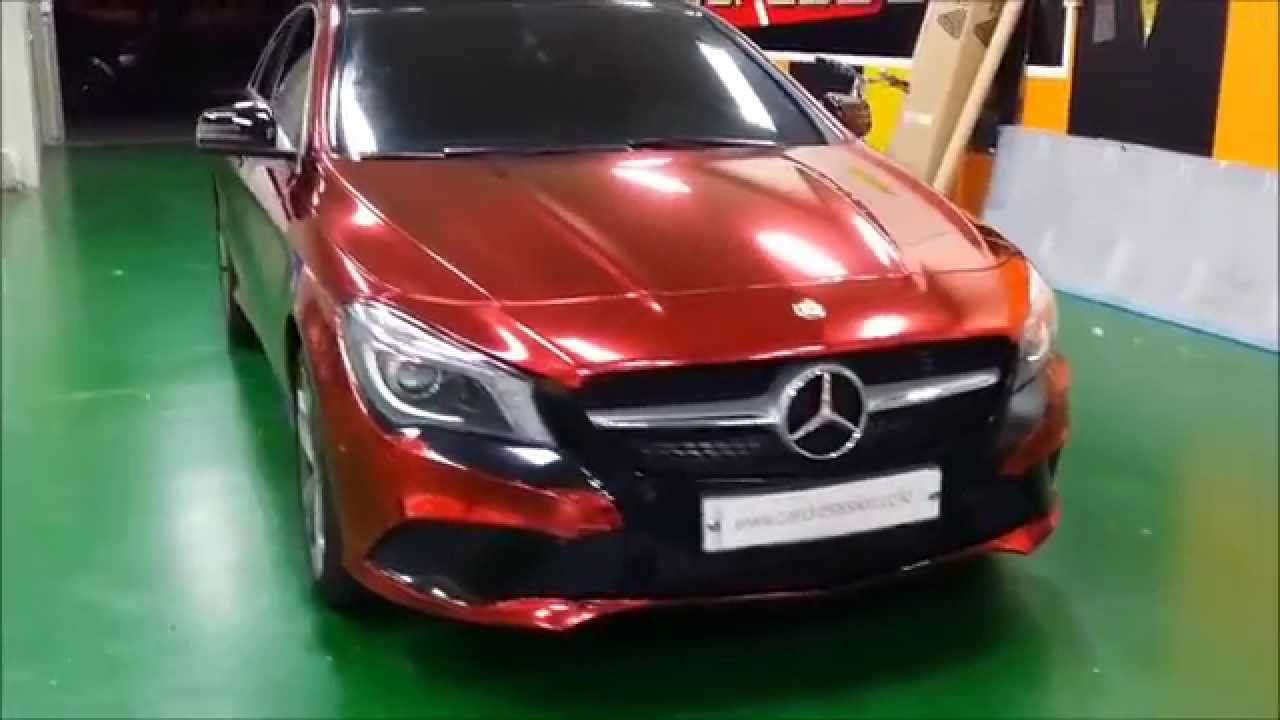 Mercedes Benz Cla >> Benz CLA 200 Red Chrome Wrapping (벤츠 CLA200 레드크롬 랩핑 카스킨 ...