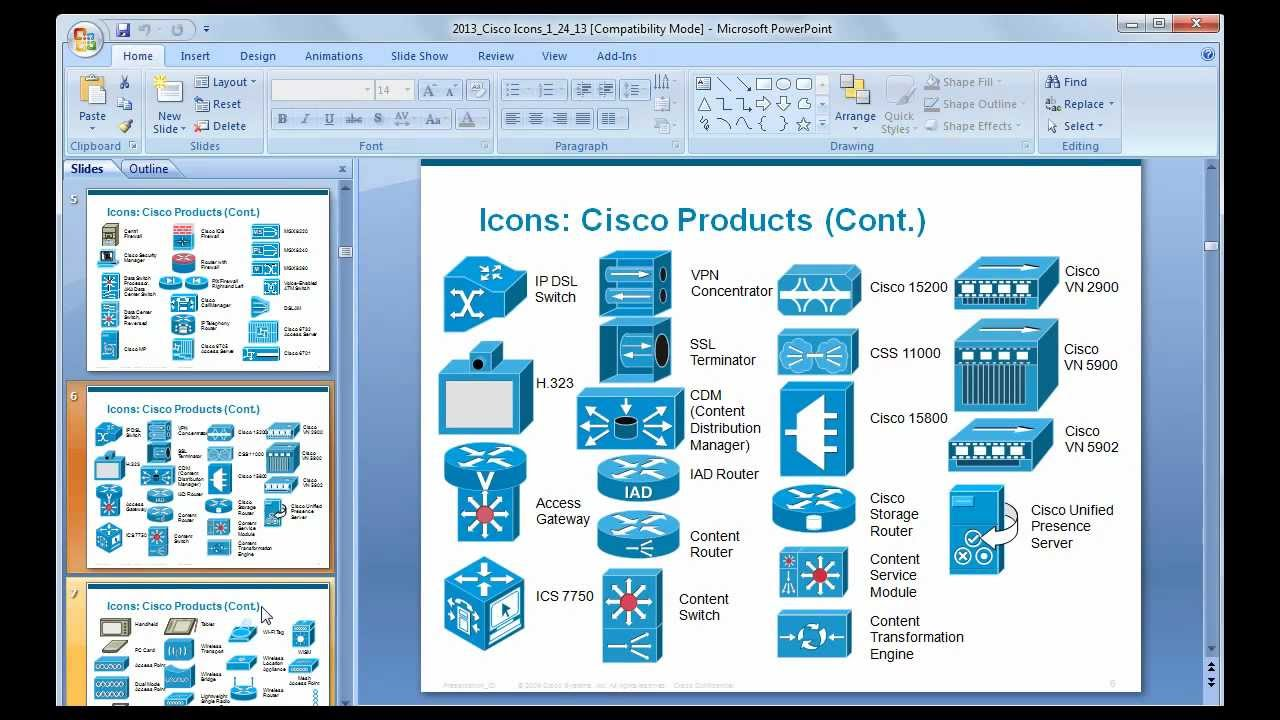 how to prepare a basic network diagram using cisco icons & ms, Powerpoint templates